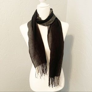 Grey and black winter scarf with fringe
